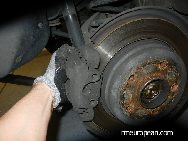 BMW E46 Brake Replacement - Compressing the brake caliper.