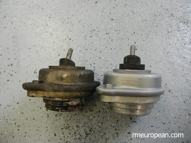 BMW E46 Comparison of new engine mount vs. old